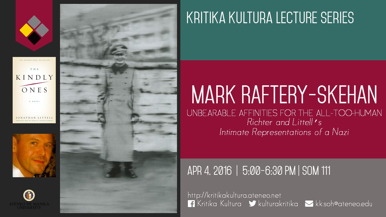 Kritika Kultura Lecture Series presents Mark Raftery-Skehan
